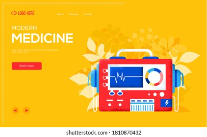 Place for text, place for copying. Defibrillator concept flyer, web banner, ui header, enter site. Layout illustration modern slider page. Grain texture and noise effect.