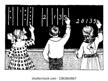 Place Value or counters in columns,  symbolic number,  math problem, notation drill, number columns, vintage line drawing or engraving illustration.