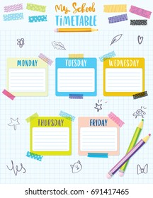 Place for your text. My School timetable schedule back to school