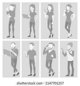Placeholder Avatar Set Vector. Profile Gray Picture. Full Length Portrait. Man, Woman Face Photo. Businessman, Business Woman. Human Web Photo. Default Icon. Illustration