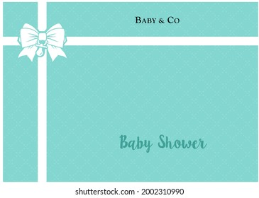 Placemat. Backgroud banner. Printable template for baby shower party. tiffany blue ribbon pattern. Classic elegant style