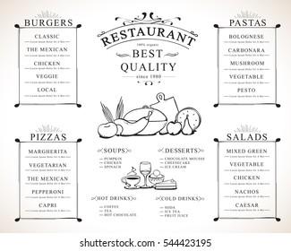 Placemat design template, vector illustration. Hand drawn diner cover. Creative restaurant menu brunch flyer for print materials, web site