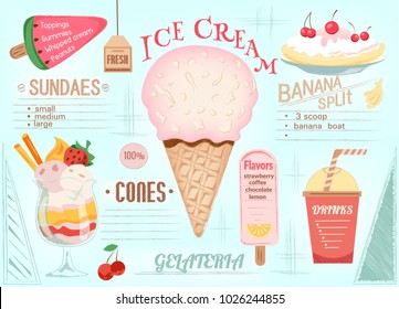Placemat Ice Cream. Single page menu. Vector illustration EPS10. Text is easy to replace.