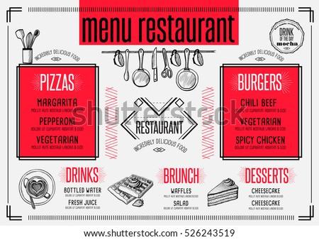 placemat menu restaurant food brochure cafe のベクター画像素材