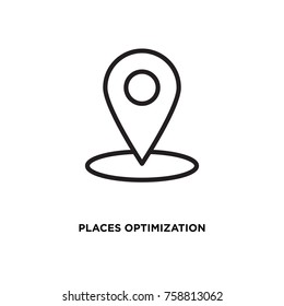 Places optimization vector icon, location symbol. Modern, simple flat vector illustration for web site or mobile app