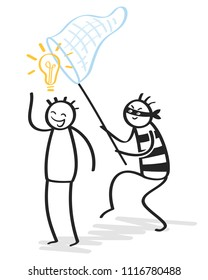 Plagiarism, copycat, idea rip-off, malicious looking stick figure thief stealing idea, light bulb isolated on white background