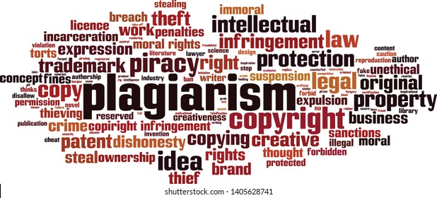Plagiarism word cloud concept. Collage made of words about plagiarism. Vector illustration