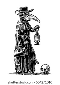 Plague, doctor with bird mask,suitcase, lantern, garlic and hat. Vector black vintage engraving illustration isolated on a white background. For web, poster, info graphic.