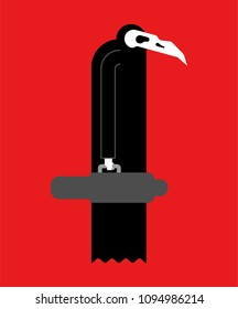 Plague doctor. Bird skull and black raincoat. Medieval medical man. Vector illustration