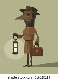 Plague doctor character mascot in crow mask hold lamp. Vector flat cartoon illustration