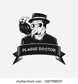 PLAGUE DOCTOR WITH A CROW IN BLACK AND WHITE COLORS