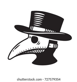 Plague doctor head profile, with bird mask and hat. Vintage engraving style drawing, black and white vector illustration.
