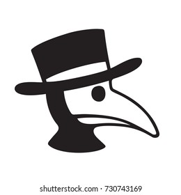 Plague doctor head profile icon or logo. Simple black and white vector illustration of character in bird mask and hat.
