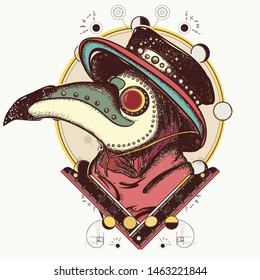 Plague doctor portrait. Color vector tattoo. Medieval gothic venetian mask and masonic symbols