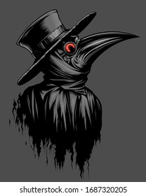Plague doctor portrait on the gray background.