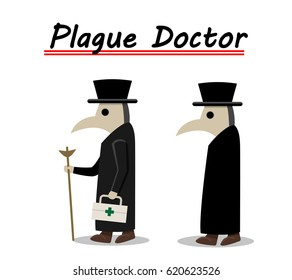 Plague doctor side view in flat, vector design