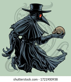 Plague doctor with skull. Vectorized ink drawing of plague doctor with human skull.