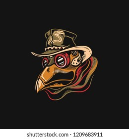 plague doctor vector illustration, mascot, icon, vintage style.