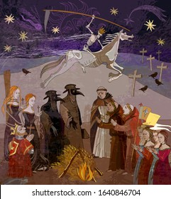 Plague doctors. Medieval scene. Coronavirus art. World epidemic. Horseman of death on horse. Ancient book illustration. Middle Ages parchment style