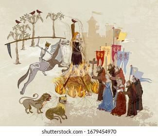 Plague epidemic. Horseman of death on horse. Medieval scene. World pestilence. Coronavirus art. Ancient book illustration. Middle Ages parchment style