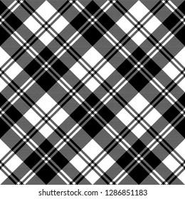 Plaid black white tartan classic seamless pattern. Vector illustration.