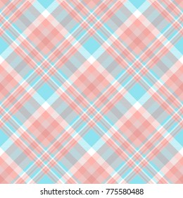 Plaid check. All over fabric print in pale red, pink, white and blue. Seamless texture for home decor, fashion clothing, scrapbooking paper printables and gift wrap.