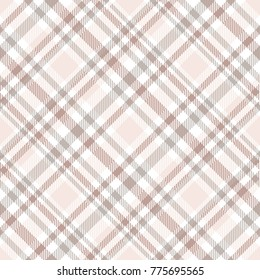 Plaid check. All over fabric print in shades of ivory, grey, pale reddish brown and white. Seamless texture for home decor textiles, upholstery, fashion clothing & scrapbooking paper printables.