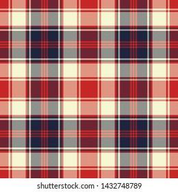 Plaid check diagonal fabric texture seamless pattern. Vector illustration.