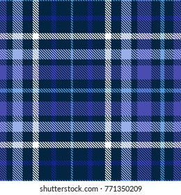 Plaid check patten. Checkered fabric print in shades of blue, indigo, violet and white. Seamless vector texture.