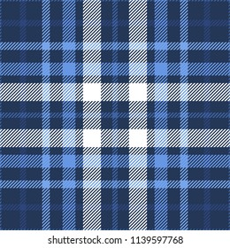 Plaid check patten in dark navy, blue and white. Seamless fabric texture print.