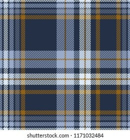 Plaid check patten in dusty blue, faded navy and brown. Seamless fabric texture print.