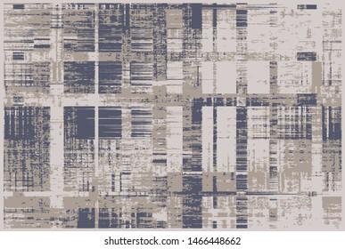 Plaid check patten in indigo, navy, beige, cream and pale beige . Modern vintage effect fabric texture print design for carpet, rug, flooring, blanket digital or weaving pattern