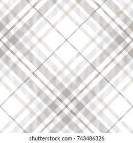 Plaid check patten in pastel grey, dusty beige and white. Seamless fabric texture. Diagonal print.