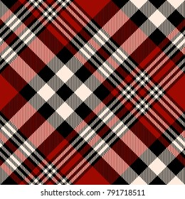 Plaid check patten in red, beige and black. Seamless fabric texture for digital textile printing.