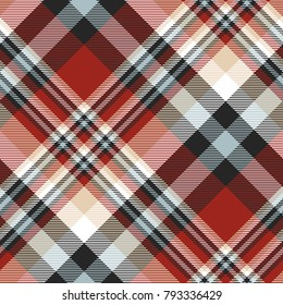 Plaid check patten in red, beige, white, dusty blue and black . Seamless fabric texture.