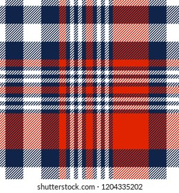 Plaid check patten in red, white and blue. Seamless fabric texture print.