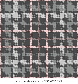 Plaid check patten in shades of gray and pink. Seamless fabric texture print.