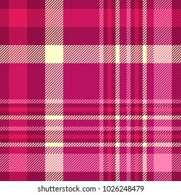 Plaid check patten in shades of pink, maroon and cream. Seamless fabric texture print.