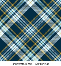 Plaid check patten in teal green, robin egg blue and mustard yellow. Seamless fabric texture print.
