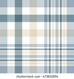 Plaid check pattern in beige, white, dusty teal green and grayish blue. Seamless fabric texture print
