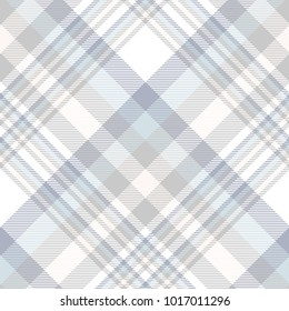 Plaid check pattern in blue, grey, pale beige and white. Seamless fabric texture print.