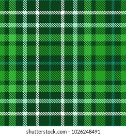 Plaid check pattern in dark green, forest green, myrtle, aqua and white. Seamless fabric texture print.