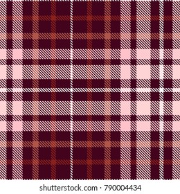 Plaid check pattern in dark maroon, burgundy, pale red, pale pink and white. Seamless fabric texture.