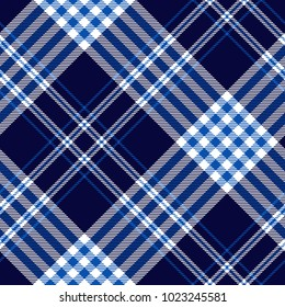 Plaid check pattern in dark navy, cobalt blue and white. Seamless fabric texture print.