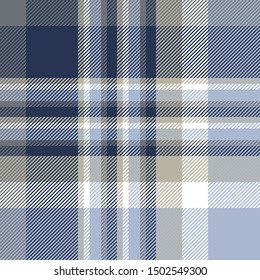 Plaid check pattern in dusty blue, pale grayish taupe, dark navy and white.