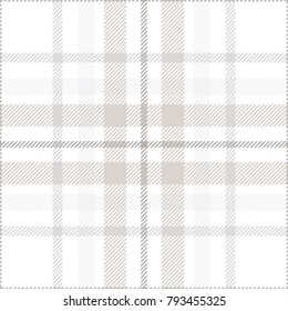 Plaid check pattern in grey, beige and white. Seamless fabric texture.