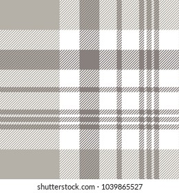 Plaid check pattern in grey, taupe and white. Seamless fabric texture background.