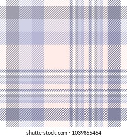 Plaid check pattern in lavender, soft purple, peach pink and white. Seamless fabric texture background.