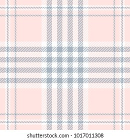 Plaid check pattern in pale pink, dusty blue and white. Seamless fabric texture print.