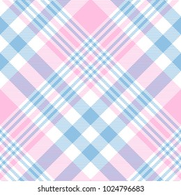 Plaid check pattern in pink, blue and white. Seamless fabric texture print.